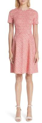 Lela Rose Polka Dot Stretch Jacquard Seamed Dress