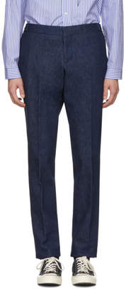 Thom Browne Navy Denim Unconstructed Low-Rise Trousers
