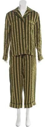 ALEXACHUNG Striped Two-Piece Pant Set w/ Tags
