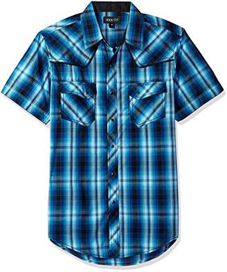 Ely & Walker Men's Short Sleeve Textured Plaids Shirt with Piping