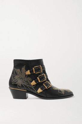 Chloé Susanna Studded Leather Ankle Boots - Black