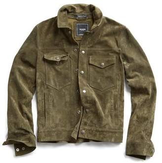 Todd Snyder Italian Suede Snap Front Dylan Jacket in Sage