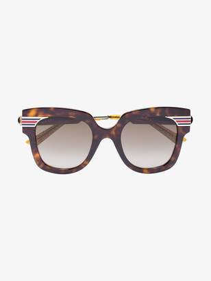 Gucci Gold Brown Havana Tortoiseshell Sunglasses