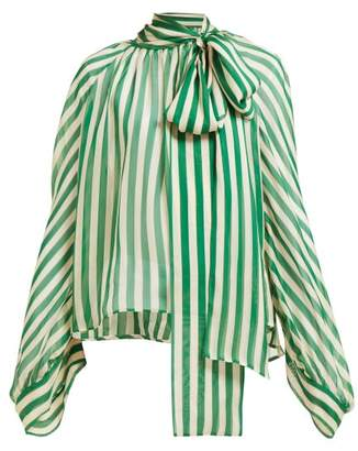Petar Petrov Bride Striped Pussybow Silk Blouse - Womens - Green White