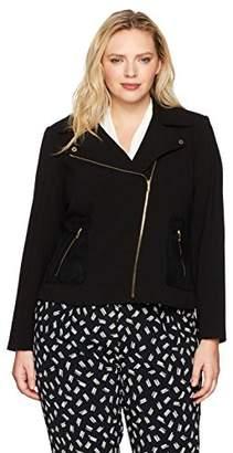 Calvin Klein Women's Plus Size Moto Jacket with Zip Pockets