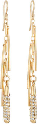 Devon Leigh Diamond Illusion Pave Crystal Fringe Dangle Earrings