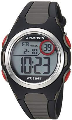 Armitron Sport Unisex 45/7076BOG Red Accented Digital Chronograph Black and Grey Resin Strap Watch