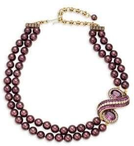Heidi Daus Multi-Color Rhinestone & Glass Beaded Oval Swirl Pendant Necklace