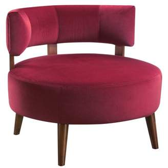 Dahlia Emerald Home Sphere Red Accent Chair with Oversized Seat, Curved Back, And Stitching Detail