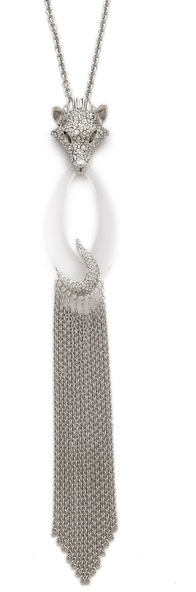 Alexis Bittar Pave Wolf Head Fringe Pendant Necklace