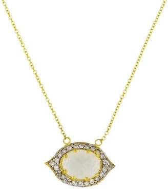 Farah Tanya Moonstone & Diamond Pendant Necklace