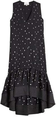 3.1 Phillip Lim Snowbird Printed Silk Dress with High-Low Hem