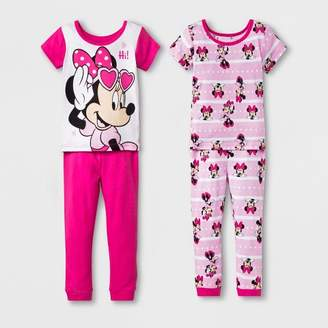 Minnie Mouse Toddler Girls' Minnie Mouse 4pc Pajama Set - Pink