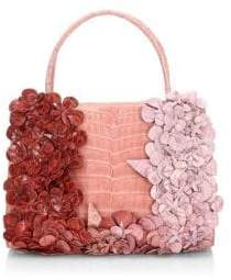 Nancy Gonzalez Flower Wallis Crocodile Top Handle Bag