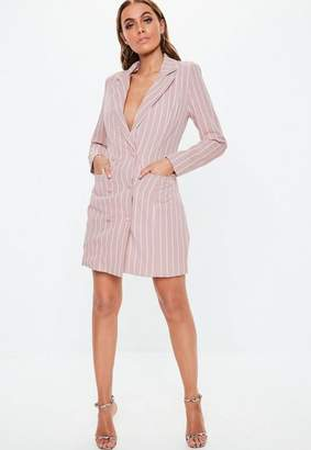 Missguided Pink Stripe Double Breasted Blazer Dress
