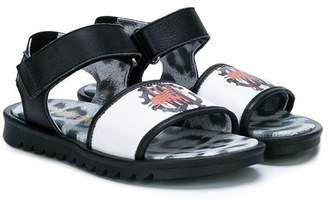 Roberto Cavalli Junior velcro strap logo sandals
