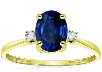 Stark Star K Oval 8x6mm Created Sapphire Engagement Promise Ring 14kt Size 4