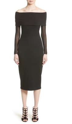 Women's Fuzzi Tulle Off The Shoulder Midi Dress $395 thestylecure.com