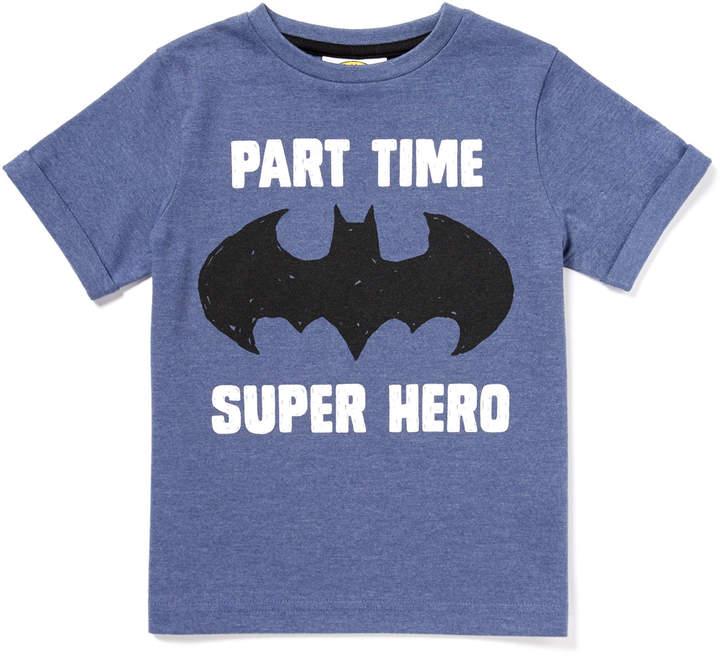 Tu Clothing Blue Batman 'Part Time Superhero' Slogan T-Shirt
