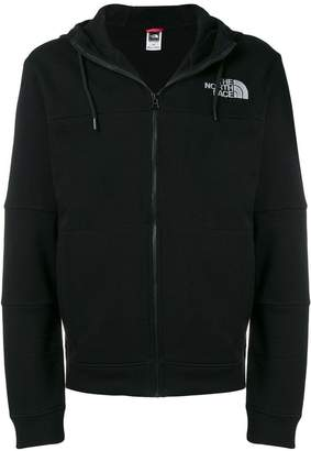The North Face zipped logo print hoodie