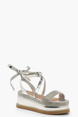 boohoo Embellished Wrap Flatform Sandals