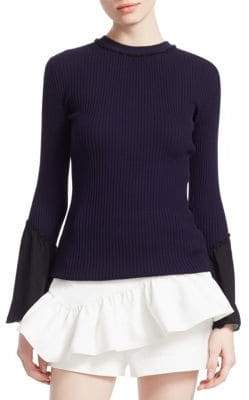3.1 Phillip Lim Ribbed Chiffon Ruffle-Sleeve Sweater