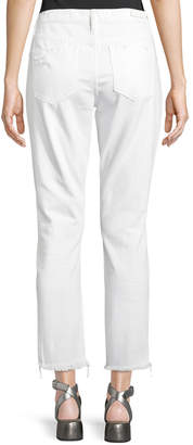 Blank NYC Jeweled Ripped Straight-Leg Jeans, White