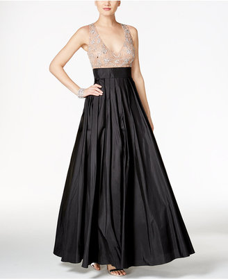 Betsy & Adam Rhinestone Illusion Ball Gown $289 thestylecure.com