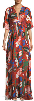 Rachel Pally Willow Crepe Botanical Leaf-Print Long Caftan Dress, Plus Size