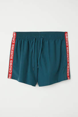 H&M Swim Shorts with Side Stripes - Turquoise