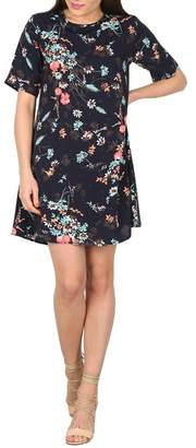 Apricot Navy Floral Swing Dress