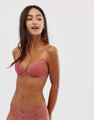 New Look lace plunge bra in pink