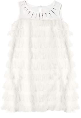 MonnaLisa Fringed Georgette & Milano Jersey Dress