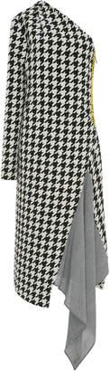 Off-White One-Shoulder Pied De Poule Wool-Blend Midi Dress