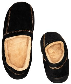 Deluxe Comfort Modern Moccasin Memory Foam Men's Slipper, Size 13-14 Stylish Microsuede Long-Lasting Memory Foam Warm Fleece Lining Men's Slippers, Black