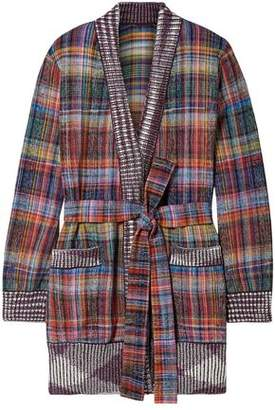 Missoni Belted Checked Cotton-Blend Cardigan