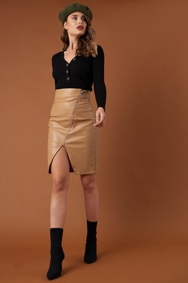 Na Kd Trend Front Zipper PU Skirt Tan