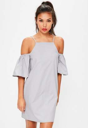 Missguided Blue Cold Shoulder Flared Sleeve Shift Dress