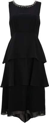 Wallis Black Embellished Tiered Overlay Dress