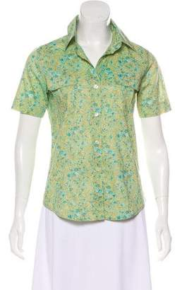 Barneys New York Barney's New York Short Sleeve Button-Up Blouse