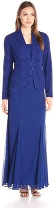 Alex Evenings Women's Long Dress with Mandarin Collar Jacket
