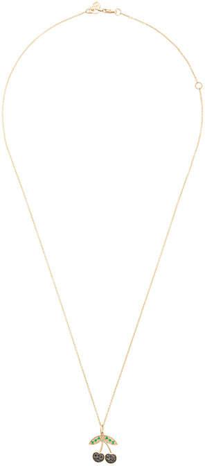 Sydney Evan 14kt yellow gold diamond and emerald cherry necklace
