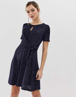 Oasis glitter skater dress with tie side in navy