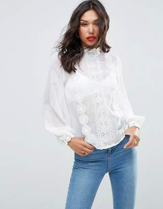 ASOS High Neck Blouse with Lace Trims $55 thestylecure.com