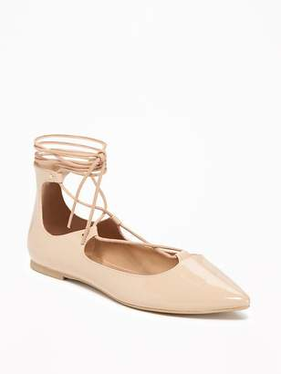 Pointed-Toe Lace-Up Flats for Women $26.94 thestylecure.com