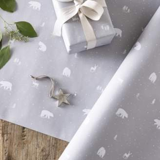 The White Company Snowy, Lumi and Reindeer Wrapping Paper - 5m, Grey White, One Size