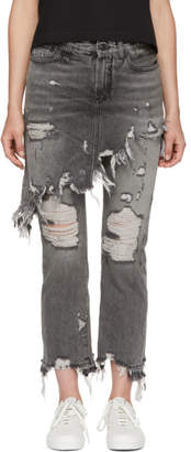 R 13 Grey Double Classic Shredded Hem Jeans