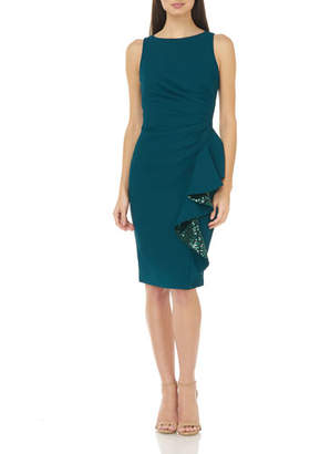 Carmen Marc Valvo Sleeveless Ruched Crepe Dress with Sequin Lined Ruffle