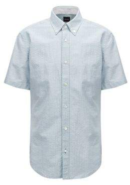 BOSS Hugo Slim-fit shirt in cotton-blend dobby M Dark Green