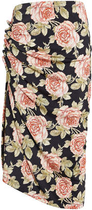 Paco Rabanne Ruched Rose Print Jersey Skirt